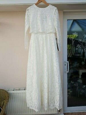 86500d00296f ASOS EDITION Lace Long Sleeve Crop Top Maxi Wedding Dress SIZE UK 12 /EU 40