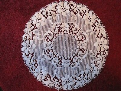 "Nottingham Lace Doilies. Four Cream Colour,   12"" Diameter.  Cotton Lace."