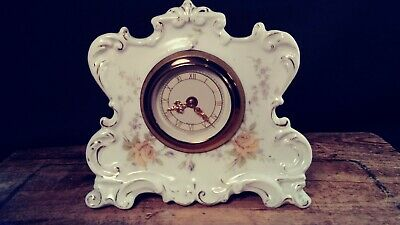 Antique/vintage German Porcelain Mantle  Clock-Floral Design 8 Day Winds & Ticks