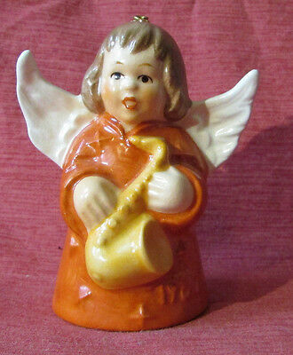 "GOEBEL 1980 W. GERMANY Porcelain ANGEL Working BELL Figurine w Saxaphone 3"" Tall"