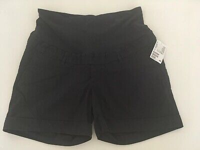 H&M Navy Chino Over Bump Maternity Shorts Size 16