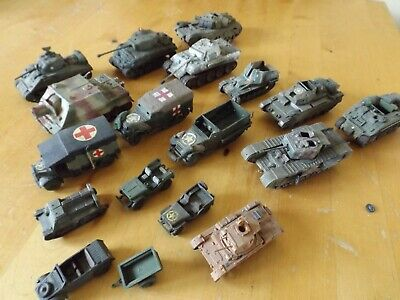 AIRFIX 1:72 SCALE TOY SOLDIERS x 15 ASSEMBLED AND PAINTED MODEL TANKS