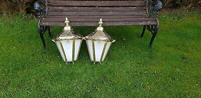 Large pair of brass Victorian style half wall lamps/lights/lanterns house barn
