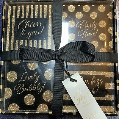 NEXT Set of 4 Black with Gold Glitter Glass Party Coaster Set