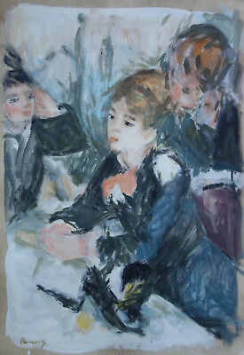 Fine Rare impressionist original oil, Portrait painting, Renoir era, Signed