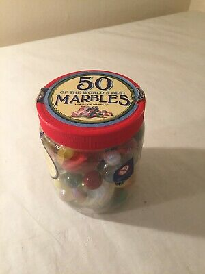 50 Colourful Assorted Glass Marbles in a Jar