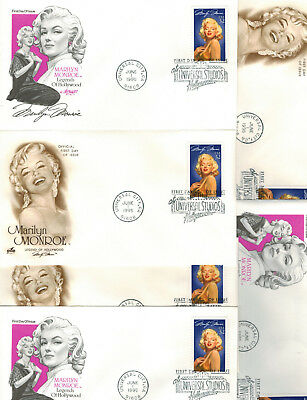 Marilyn Monroe Legends of Hollywood Actress SET OF 6 FDCs on 2 Diff Cachets