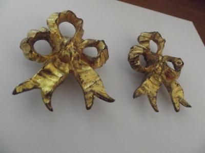2 pairs large antique French rococo gilt bronze picture hook covers ribbons bows