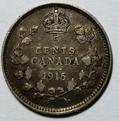 Canada, 5 Cents, 1915, Very Fine, Better Date, .0336 Ounce Silver