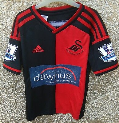 """FOOTBALL SWANSEA SHIRT by ADIDAS, BOYS AGE 5 Yr, CHEST 30"""", RED & BLACK NUMBER 2"""