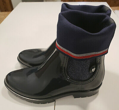 2051032ea76 TOMMY HILFIGER KNITTED SOCK RAIN BOOTS - MIDNIGHT - US Women s SIze 6  FW0FW03565