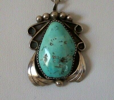 Hand Crafted Native American Green Turquoise Pendant& Chain - Marked  H - Harvey