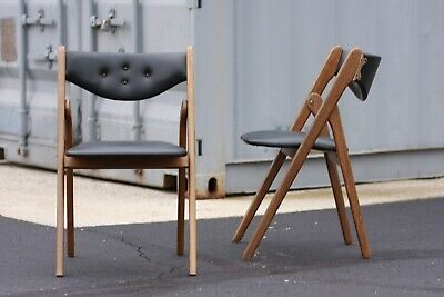 2 Vintage Mid Century Norquist Coronet Walnut Wood Leather Folding Dining Chair