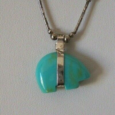 Hand Crafted Carved Turquoise  Single Bear - Liquid Sterling Necklae