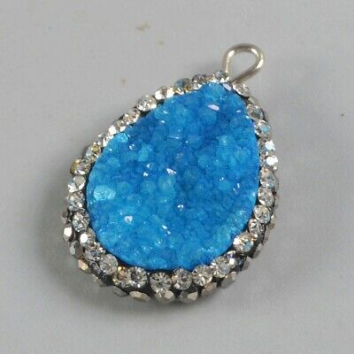 Drop Blue Agate Druzy Geode Pave Zircon Charm One Bail T075217