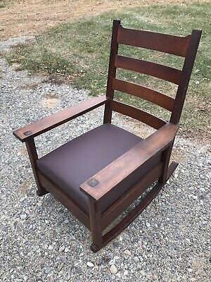 Antique Large Signed Arts Crafts Mission Oak Gustav Stickley Rocking Chair