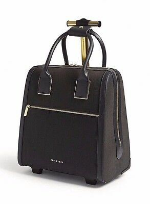 ff5588729 New TED BAKER Cressa Croc Emboss Two Wheel Travel Carry On Suitcase Bag  Black