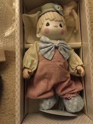 VINTAGE Precious Moments  Bong Bong Clown Porcelain Bisque Doll In Box