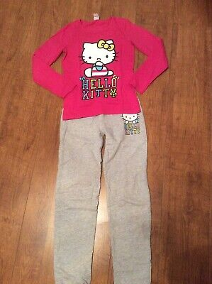 Girls Age 11 Hello Kitty Grey And Pink Pyjamas