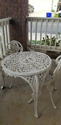 Antique Vintage Cast Iron Table 3P.c Set Garden Porch Terrace JAPAN