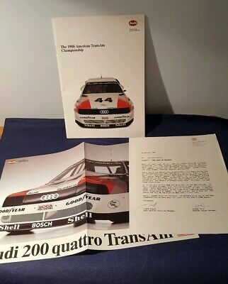 1988 AUDI American Trans Am Brochure With Poster 34 Pages