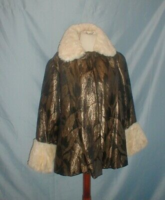 Antique Vintage Dress Coat 1920 Gold and Black Lame Fur Collar and Cuffs