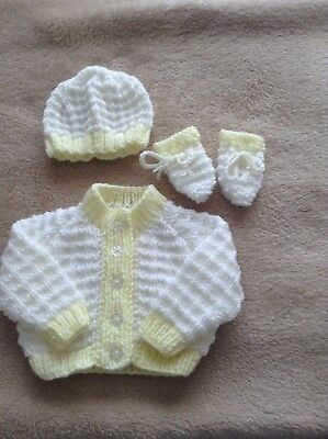96c4836114c9 HAND KNIT PREMATURE / early baby girl Lemon Summer cardigan, hat and ...