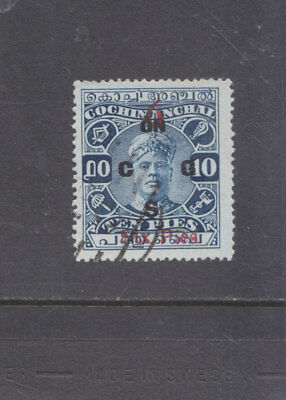 India-Cochin-1933-Rama Varma Ii-6 Pies On10 Pies-Official-Sg 033-F/u-$10