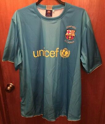 a4d9244cac9 2007 08 FC Barcelona Teal And Yellow Unicef Camp NOU Futbol Soccer Jersey Sz