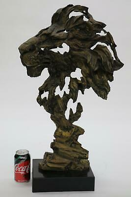 """Large Abstract Surreal LION Head Bronze Bust Sculpture Statue on Marble Base 27"""""""