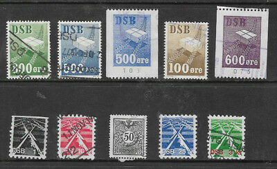 E17.2] DENMARK Railway Stamps 10 different