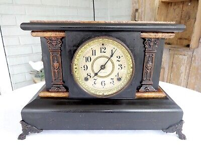 Antique Seth Thomas Dirty Blond Adamantine Mantel Clock Carved Face & Lion Heads