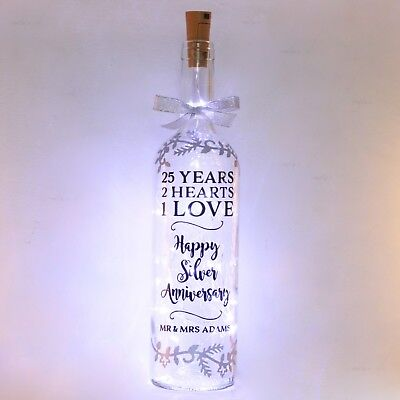 Silver 25th Wedding Anniversary Gift, Bottle Light, Lamp, Personalised, 25 Year