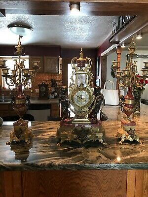 Antique French Clock Set Reprodution
