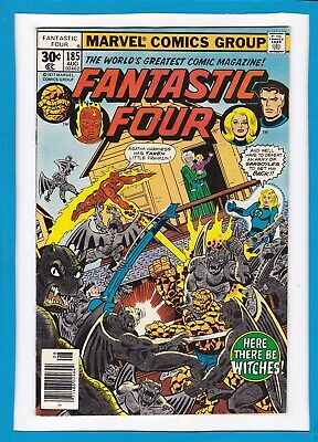 """Fantastic Four #185_August 1977_Vf/nm_""""here There Be Witches""""_Bronze Age Marvel!"""