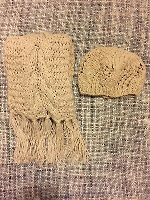 Primark Cream Chunky Knit Hat And Scarf Set Ladies