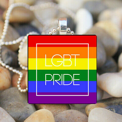 Gay Pride Rainbow Flag Vintage Necklace Pendant Jewelry Charm Gift #FX-260