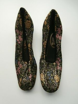 Vintage BETTA Gold & Floral Brocade Evening Slippers with heels 7.5 B
