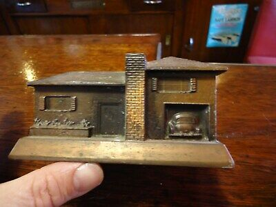 Vintage Banthrico Coppertone Cast Metal Coin Bank, house with car, Midway natl