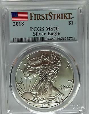 PCGS MS70 First Strike 2018 Silver AMERICAN EAGLE Dollar $1 US Flag Label 1 oz *