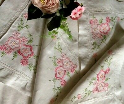 Stunning Vintage Cotton/linen Pair Oxford Pillow Cases Hand Embroidered Florals