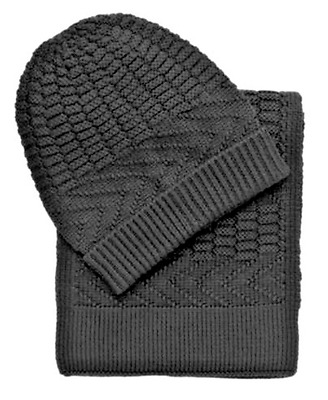 79.50 New Jos A Bank wool blend Knit Scarf and Hat set in Black FREE  SHIPPING 0575388964a