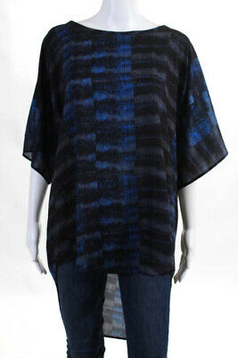 41a87d0d0beea See by Chloe Womens Top Size 8 Blue Black Silk Short Sleeve High Low Scoop  Neck