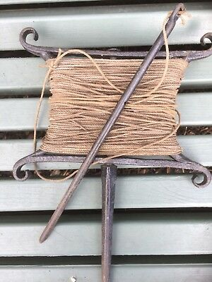 Wrought Iron Line Marker & Stake Old Vintage Garden Allotment String Seed Drill