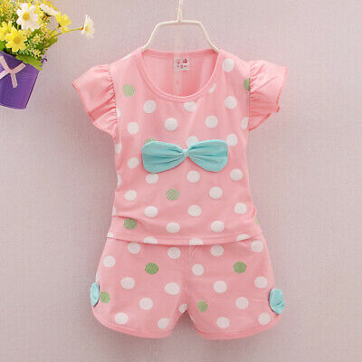 Clothing Outfits Summer Suits 2PCS Newborn Toddler Baby Girls Infant Bow Tops