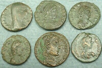 Lot Of 6 Small Roman Bronze Coins