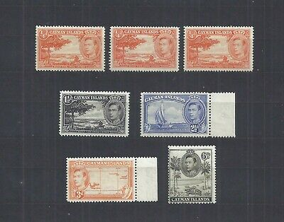 Cayman Islands – 5 Stamps (multiples) from 1938-43 Issue – Mint – Never Hinged