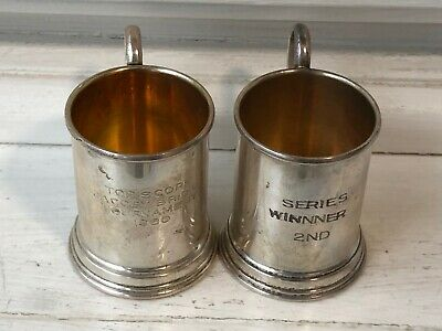 Pair of Vintage Lunt Sterling Silver Trophy Cup Mug Shot Glasses