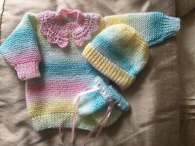 Baby Hand Knitted Jumper - Hat And Mittens Set 3 To 6 Months