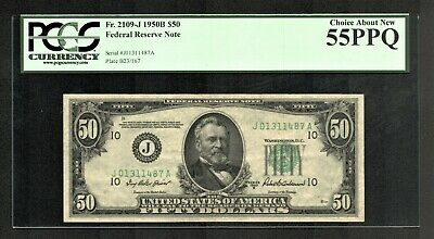 $50 1950B Federal Reserve Note (J) Kansas City PCGS Choice About New 55PPQ